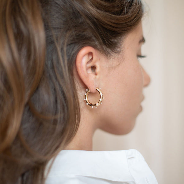 Gold Harbour Hoop Earrings with Pearl - Lulu B Jewellery
