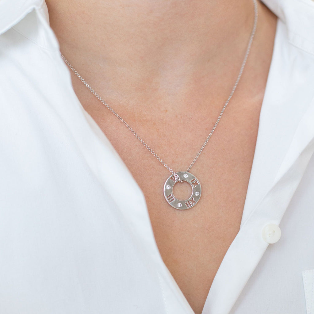 Silver Roma Necklace with Cubic Zirconia - Lulu B Jewellery