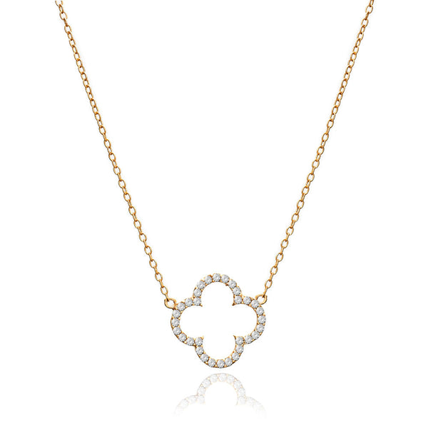 Gold Clover Necklace with Cubic Zirconia - Lulu B Jewellery