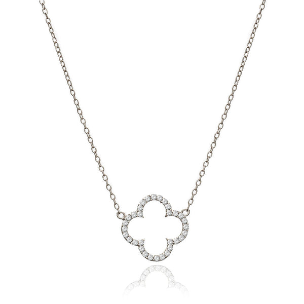 Silver Clover Necklace with Cubic Zirconia - Lulu B Jewellery