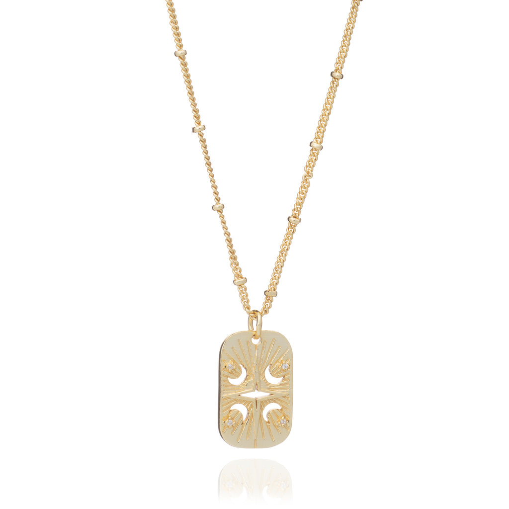 Gold Luna Tag Necklace with Cubic Zirconia - Lulu B Jewellery
