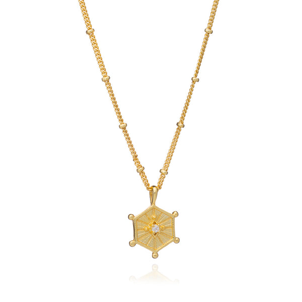 Gold Aurora Necklace with Cubic Zirconia - Lulu B Jewellery
