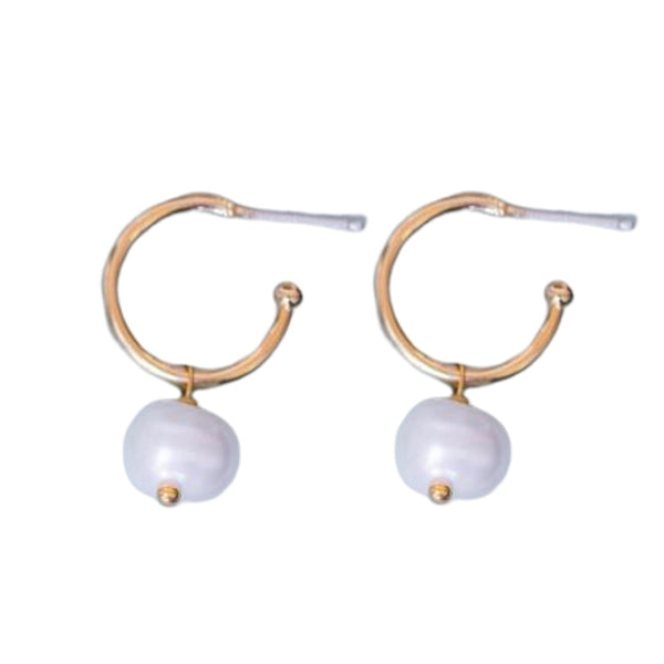Gold Inca Hoop Earrings with Pearl - Lulu B Jewellery