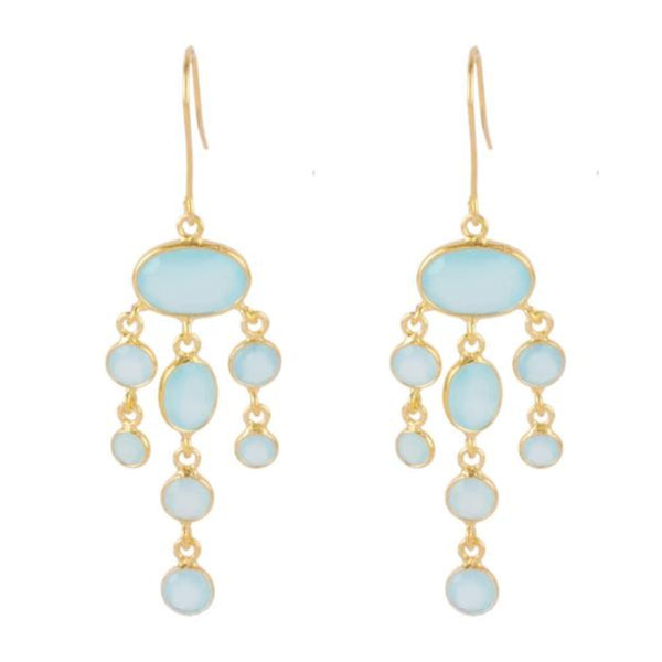 Gold Amberley Drops with Aqua Chalcedony - Lulu B Jewellery