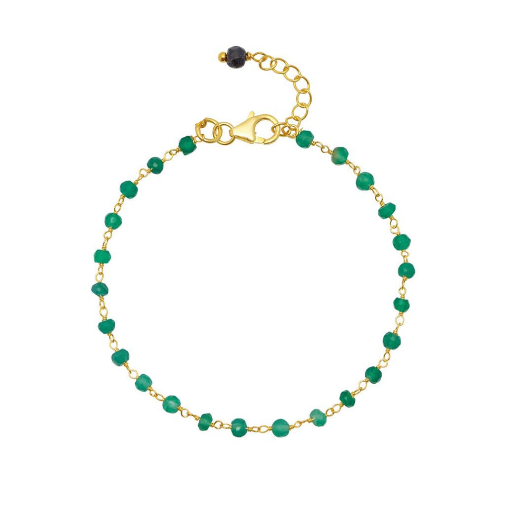 Gold Amica Chain Bracelet with Green Onyx - Lulu B Jewellery