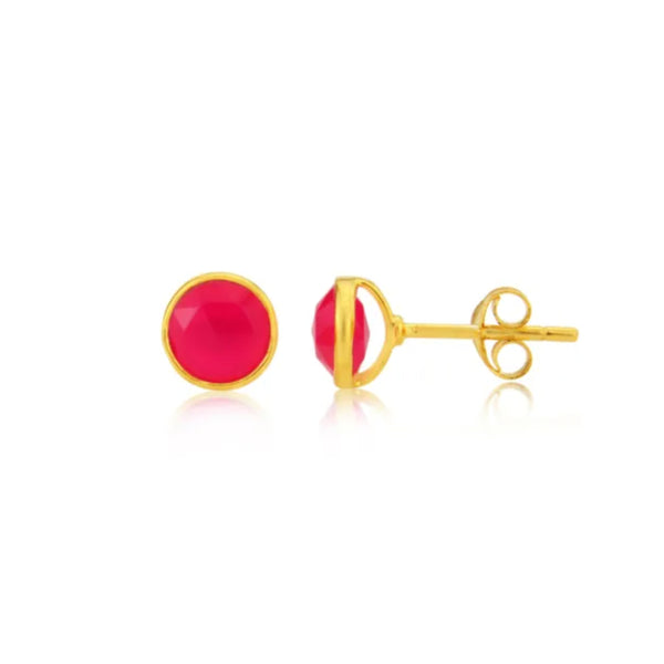 Gold Anna Studs with Ruby Quartz - Lulu B Jewellery