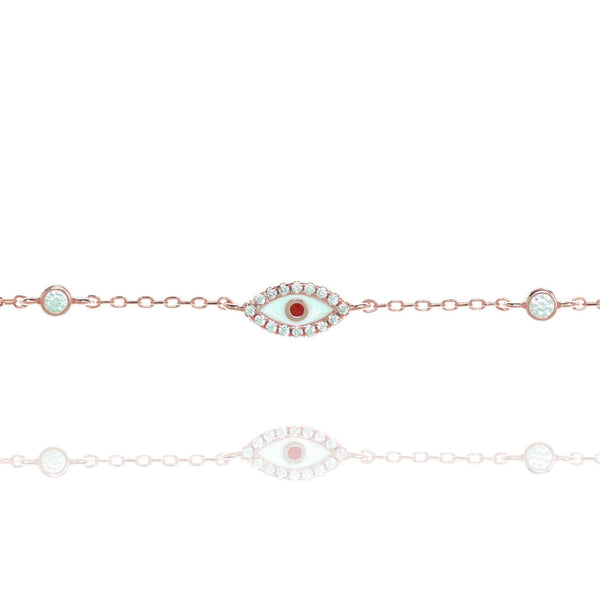 Rose Gold Evil Eye Bracelet - Lulu B Jewellery