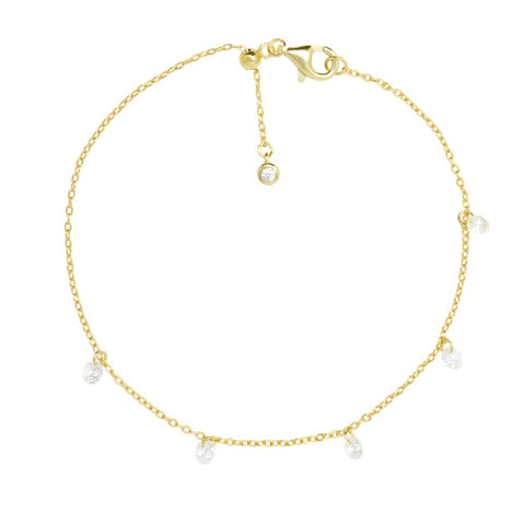 Gold Cordelia Bracelet with Cubic Zirconia - Lulu B Jewellery