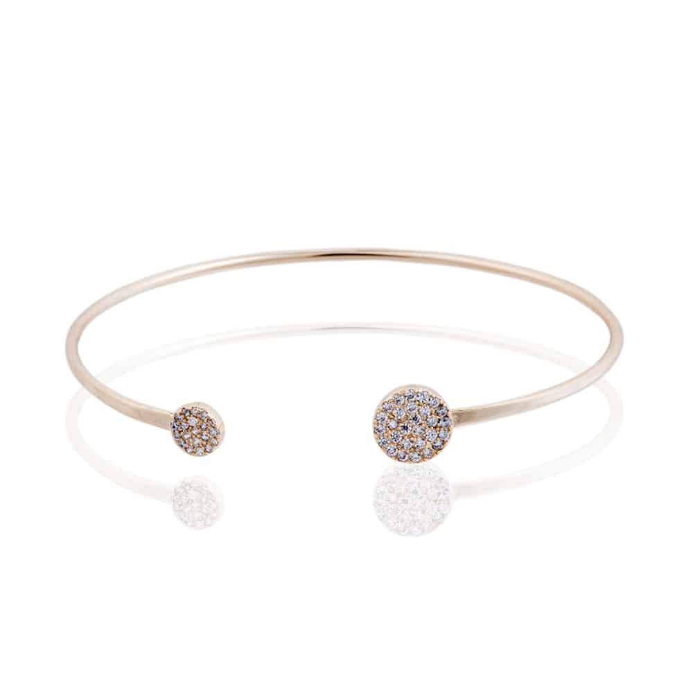 Gold Knightsbridge Bangle with Cubic Zirconia - Lulu B Jewellery