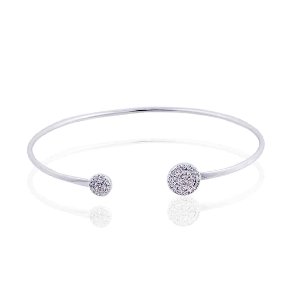 Silver Knightsbridge Bangle with Cubic Zirconia - Lulu B Jewellery