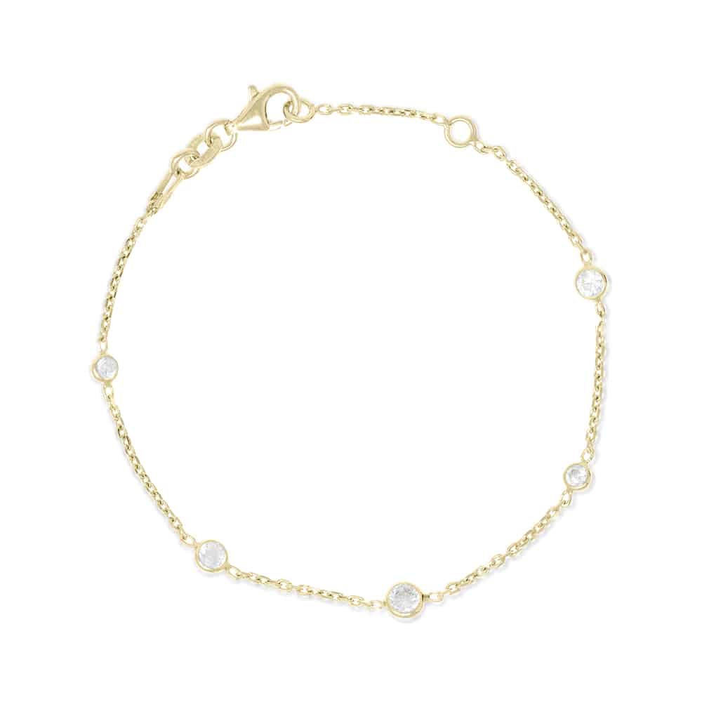 Gold Brompton Bracelet with Cubic Zirconia - Lulu B Jewellery