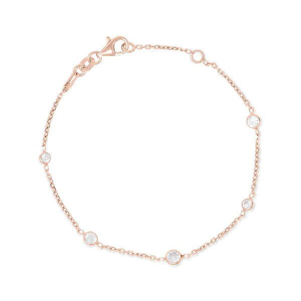 Rose Gold Brompton Bracelet with Cubic Zirconia - Lulu B Jewellery