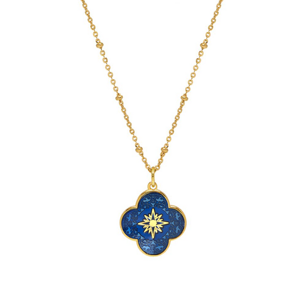 Gold Clover Necklace with Enamel (Royal Blue) - Lulu B Jewellery