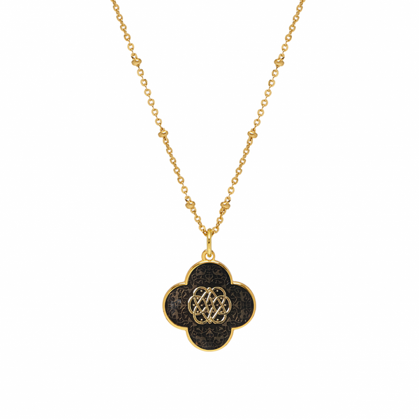 Gold Clover Necklace with Enamel (Dark Chocolate) - Lulu B Jewellery