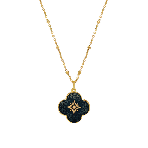 Gold Clover Necklace with Enamel (Marine Blue) - Lulu B Jewellery