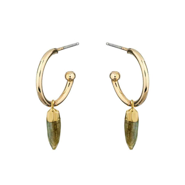 Gold Inca Hoop Earrings with Fang - Lulu B Jewellery
