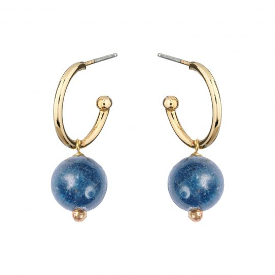 Inca Hoop Earrings with Sodalite - Lulu B Jewellery