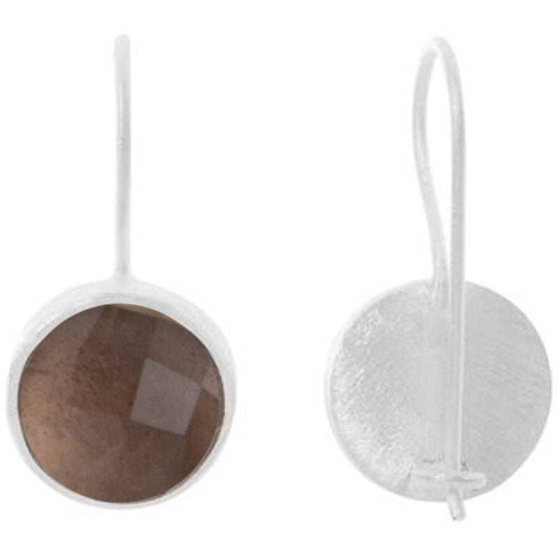 Silver Temperley Drop Earrings with Smoky Quartz - Lulu B Jewellery
