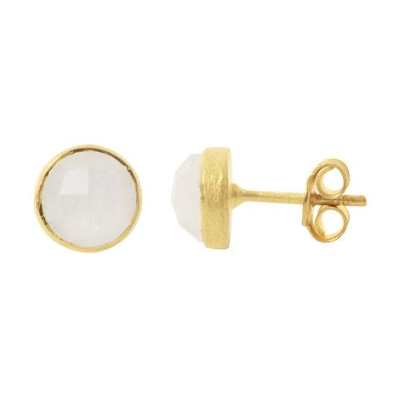 Gold Temperley Stud Earrings with Moonstone - Lulu B Jewellery
