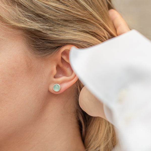 Silver Temperley Stud Earrings with Aqua Chalcedony - Lulu B Jewellery