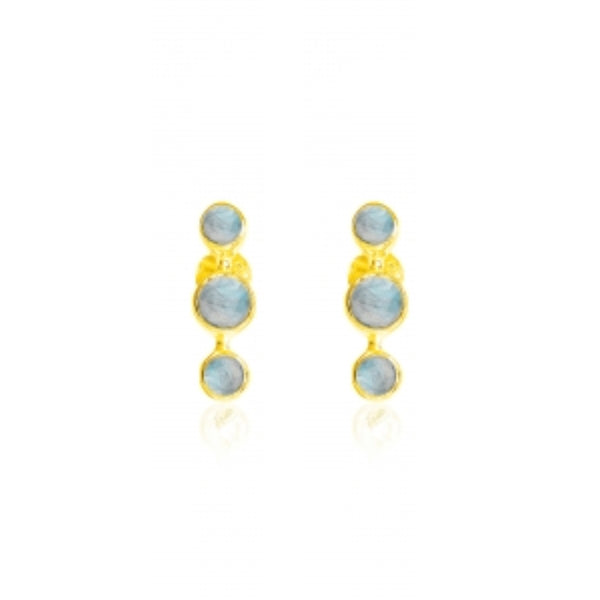 Gold Bobbin Studs with Labradorite - Lulu B Jewellery