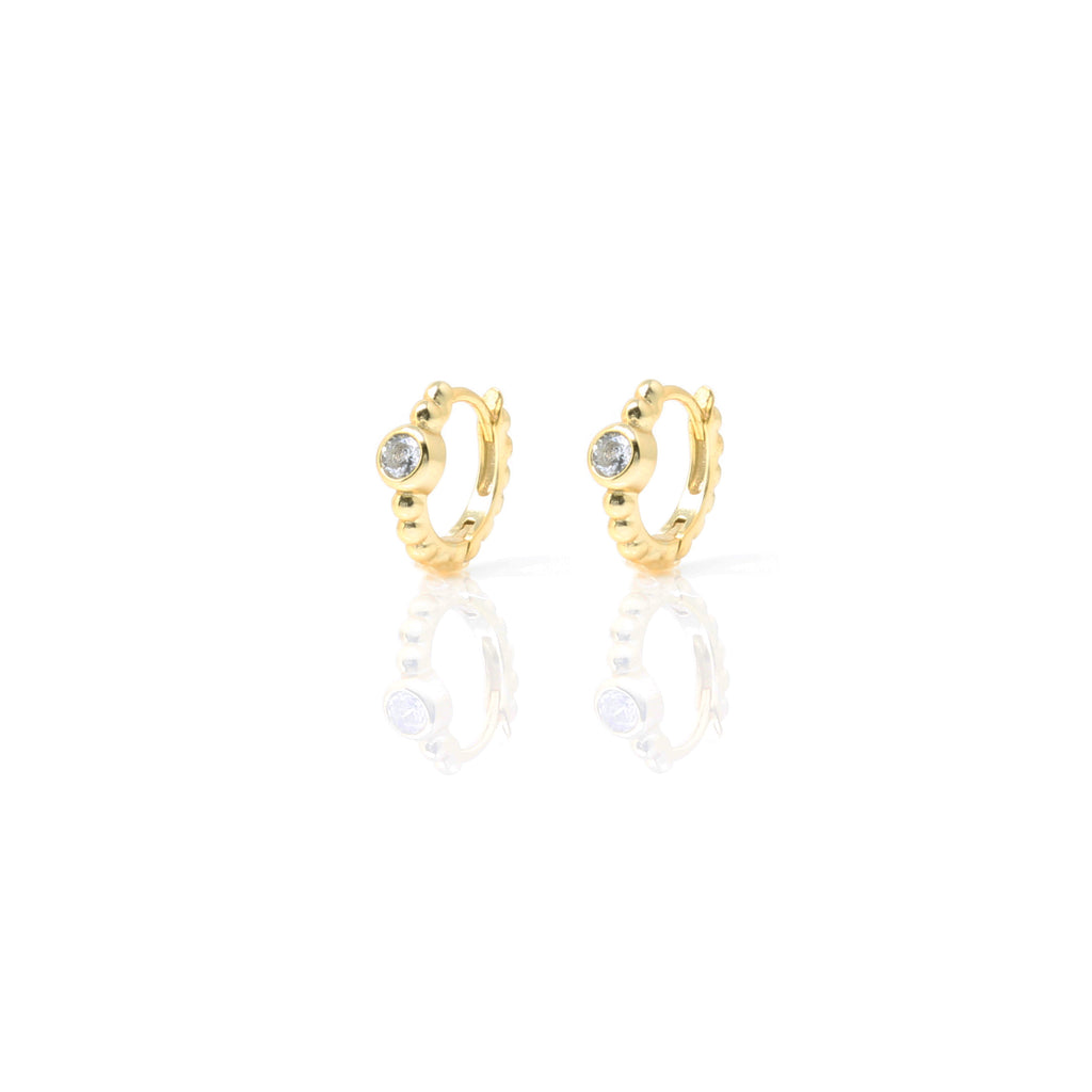 Gold Huggie Bobbin Hoops with Cubic Zirconia - Lulu B Jewellery