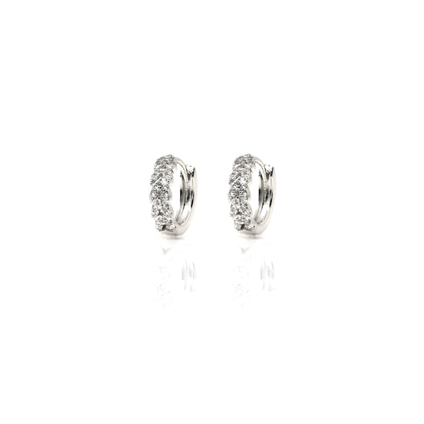 Silver Highbury Hoop Earrings with Cubic Zirconia - Lulu B Jewellery