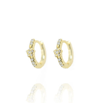 Gold Berkeley Hoops with Star - Lulu B Jewellery