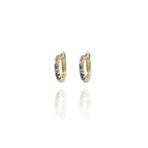 Gold Sasha Rainbow Hoop Earrings - Lulu B Jewellery