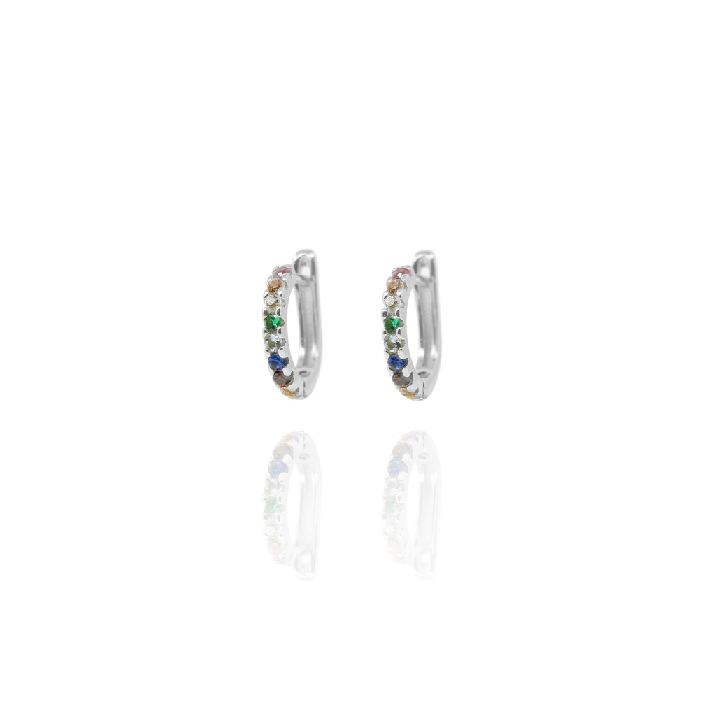 Silver Sasha Rainbow Hoop Earrings - Lulu B Jewellery