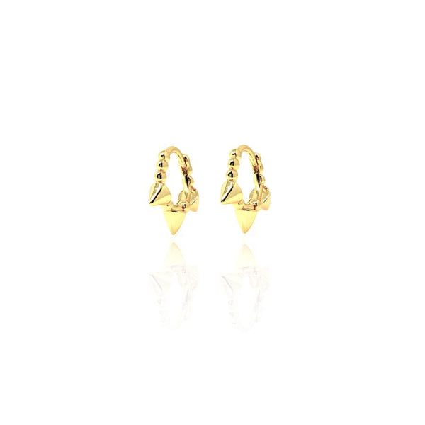 Gold Huggie Cone Hoops with Cubic Zirconia - Lulu B Jewellery