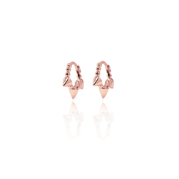 Rose Gold Huggie Cone Hoops with Cubic Zirconia - Lulu B Jewellery