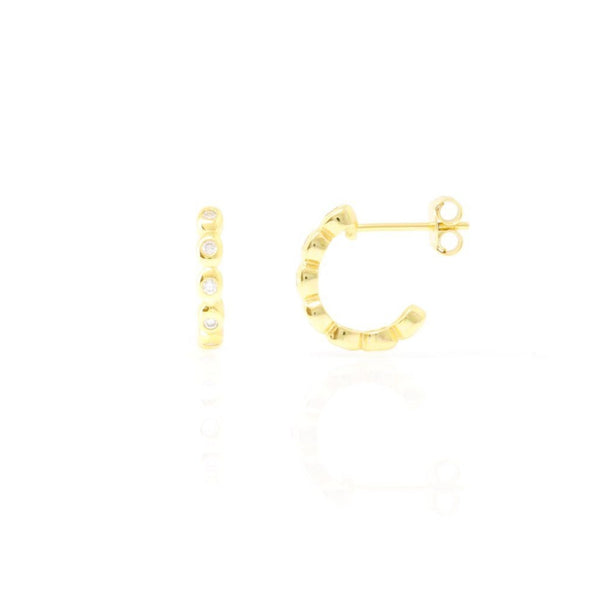 Gold Bobbin Hoop Earrings with Cubic Zirconia - Lulu B Jewellery