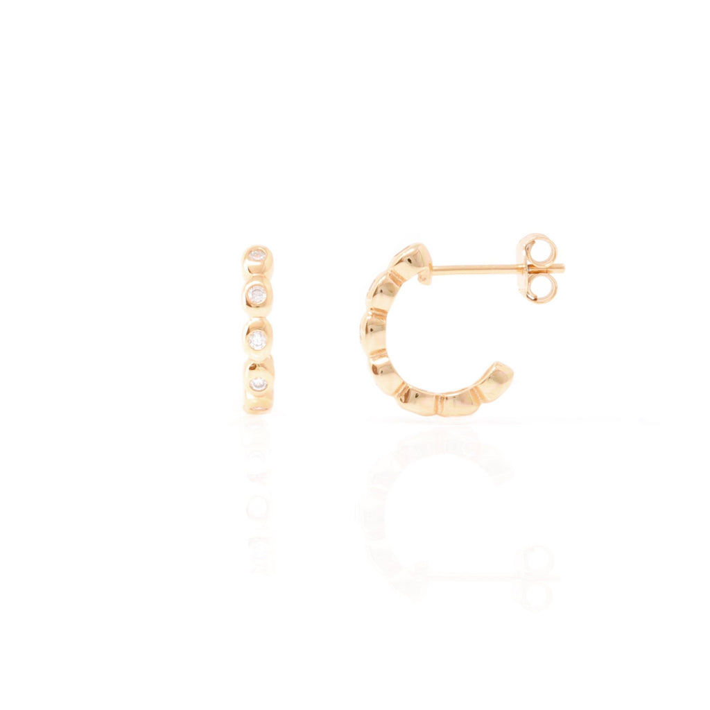 Rose Gold Bobbin Hoops with Cubic Zirconia - Lulu B Jewellery