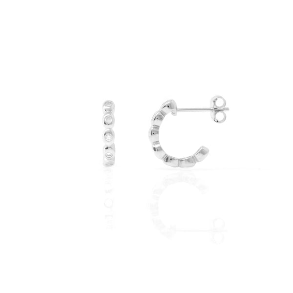 Silver Bobbin Hoop Earrings with Cubic Zirconia - Lulu B Jewellery