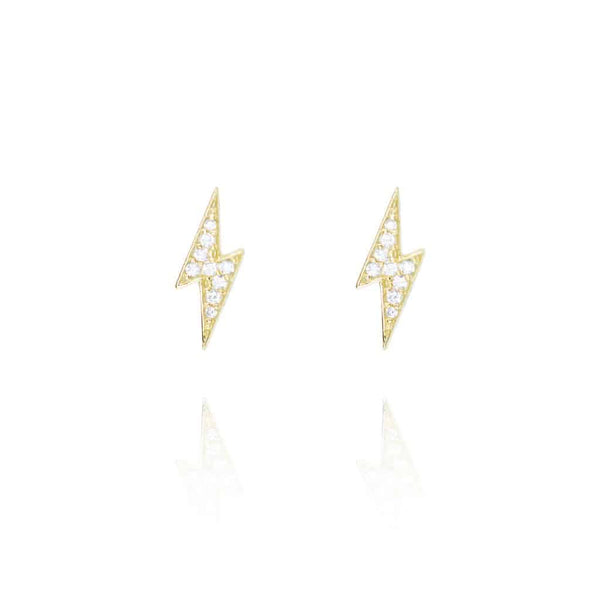 Gold Lightning Stud Earrings - Lulu B Jewellery