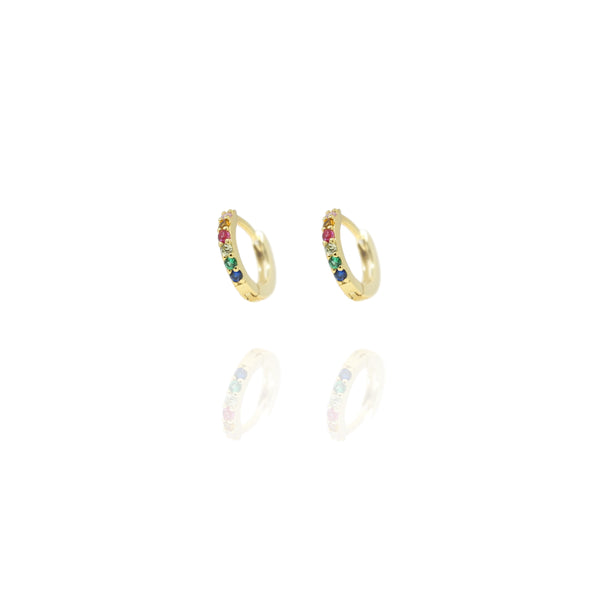 Gold Huggie Rainbow Hoops - Lulu B Jewellery