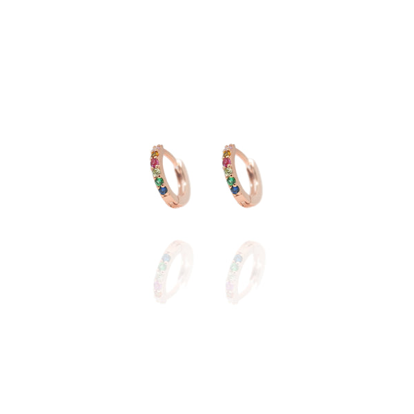 Rose Gold Huggie Rainbow Hoops - Lulu B Jewellery