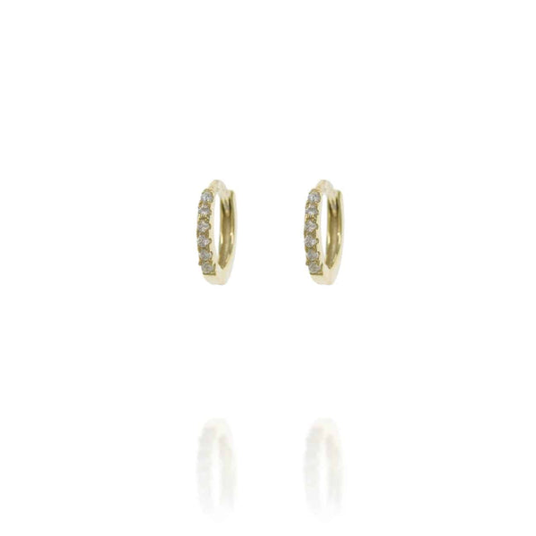 Gold Huggie Hoops with Cubic Zirconia - Lulu B Jewellery