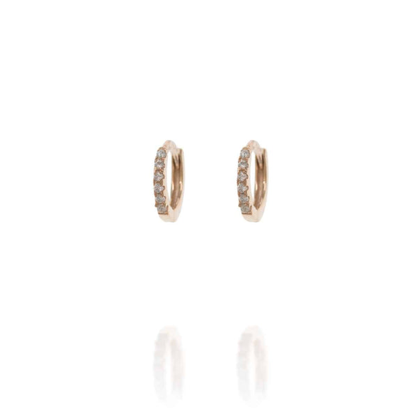 Rose Gold Huggie Hoops with Cubic Zirconia - Lulu B Jewellery