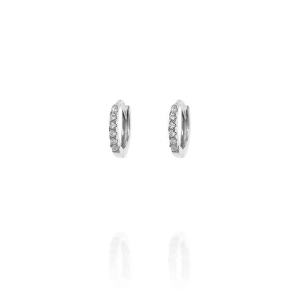 Silver Huggie Hoops with Cubic Zirconia - Lulu B Jewellery