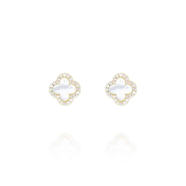 Gold Clover Stud Earrings with Mother of Pearl - Lulu B Jewellery