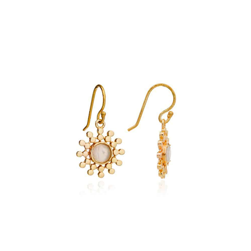 Gold Sun Drop Earrings with Moonstone - Lulu B Jewellery
