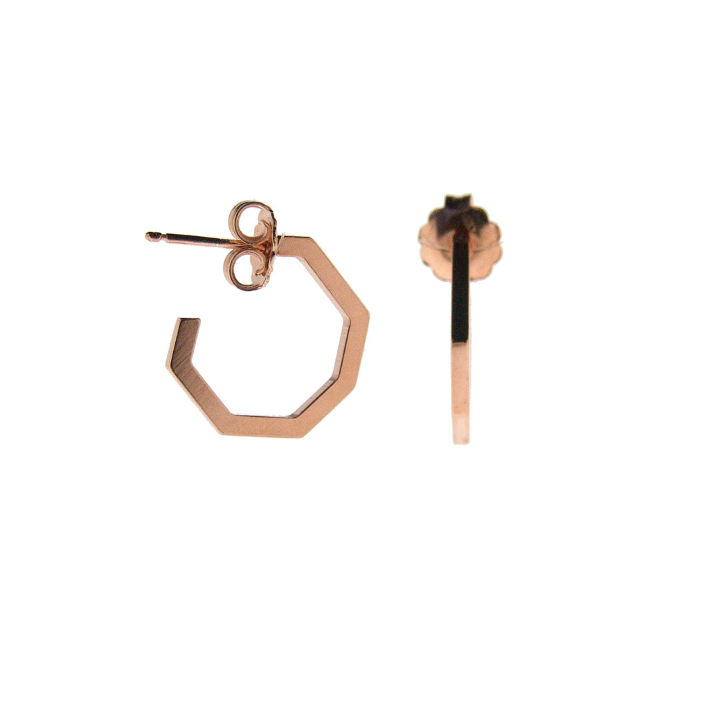 Rose Gold Hex Hoops - Lulu B Jewellery