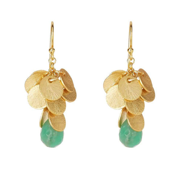 Gold Mulberry Drop Earrings with Chyroprase - Lulu B Jewellery