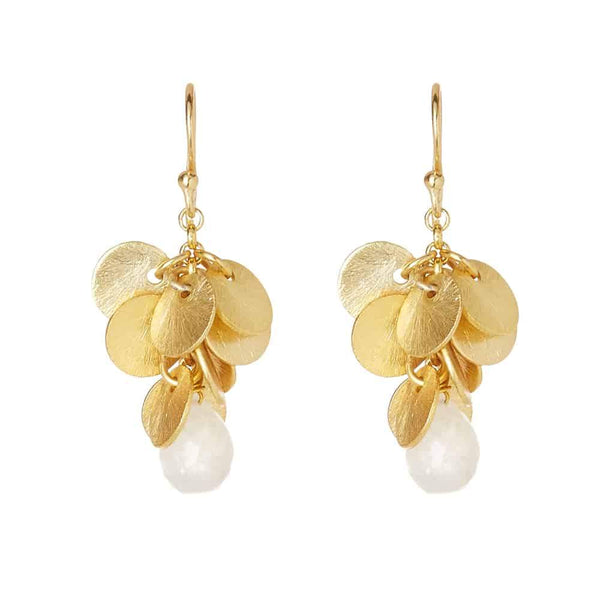 Gold Mulberry Drop Earrings with Moonstone - Lulu B Jewellery