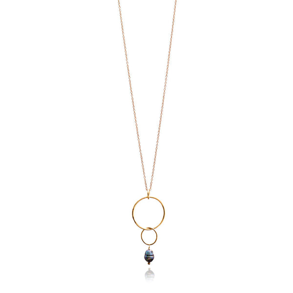 Gold Fairmile Necklace with Peacock Pearl - Lulu B Jewellery