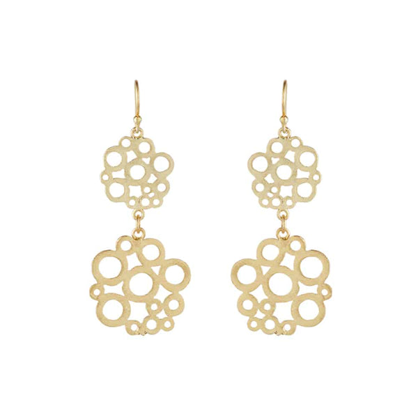 Gold Floral Drop Earrings - Lulu B Jewellery