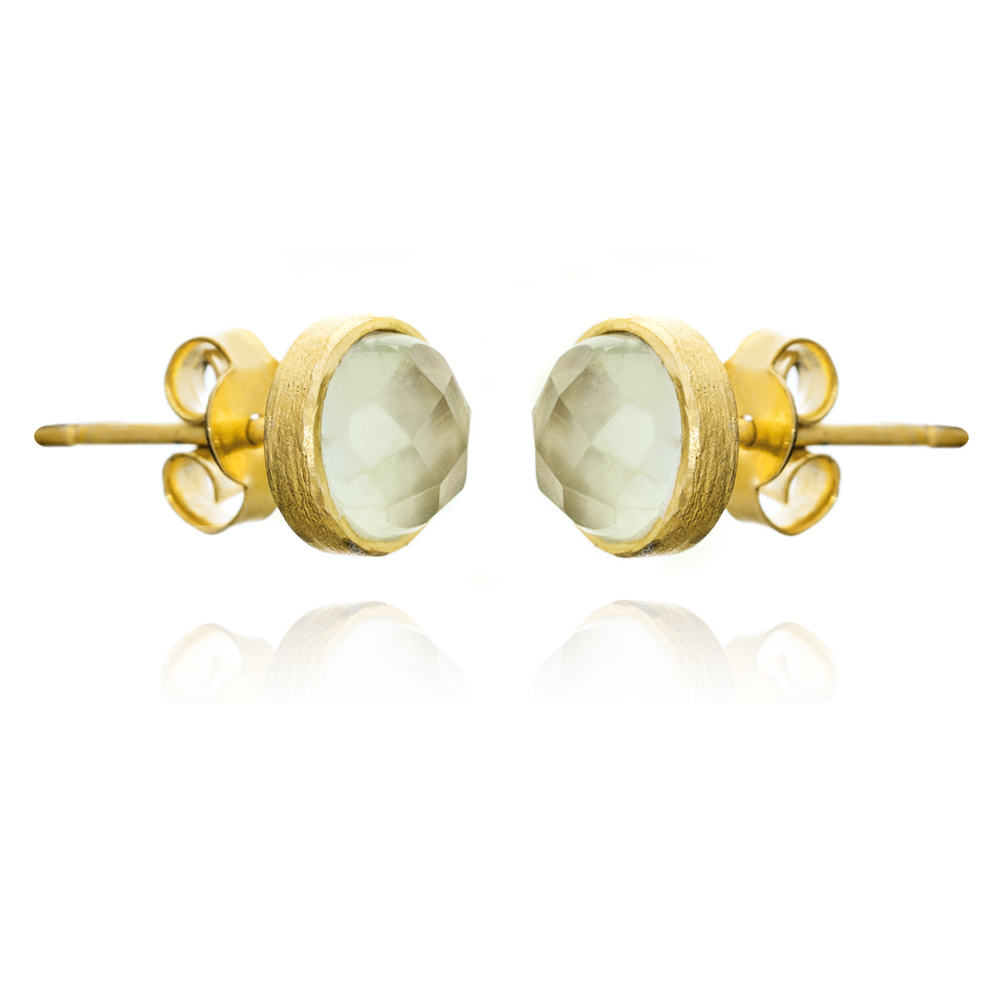 Gold Temperley Stud Earrings with Prehnite - Lulu B Jewellery