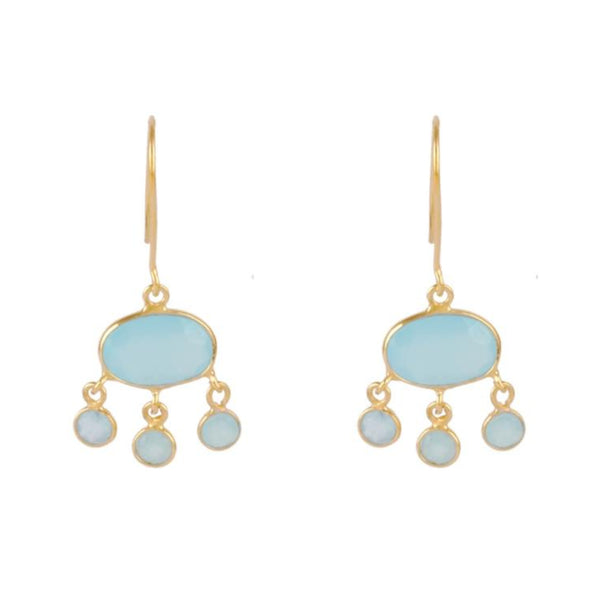 Gold Amber Drop Earrings with Aqua Chalcedony - Lulu B Jewellery